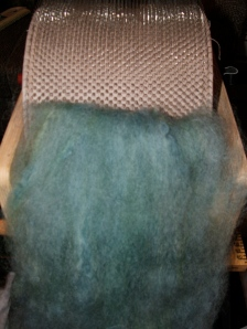 Dyed Locks on the Drum Carder